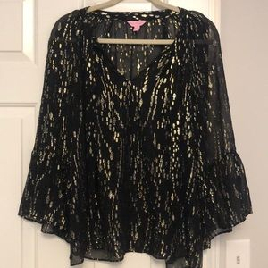 Lilly Pulitzer Black and Gold Blouse